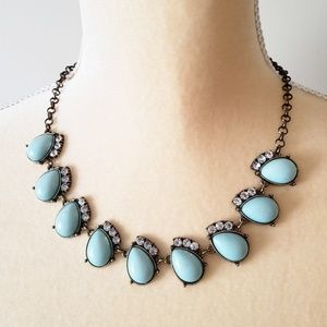J. Crew Statement Necklace Aqua with Rhinestones